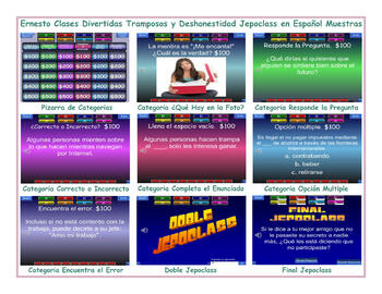 Cheaters and Dishonesty Spanish Jeopardy Game