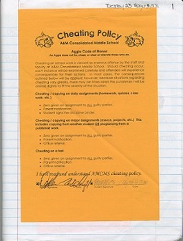 Cheating Policy to Include in Interactive Notebooks (An Editable Form w/ Adobe)