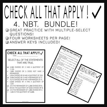 Check All That Apply: 4.NBT. BUNDLE!