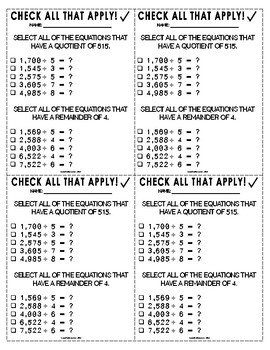 Check All That Apply: Four-Digit By One-Digit Division!