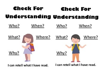 Check For Understanding - Checklist to help with retelling a book