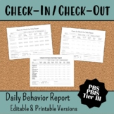 Check In Check Out Behavior Tracking Sheet Editable