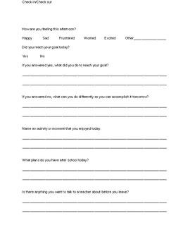 Check In/Check Out Sheet for Students