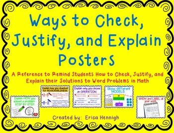 Check, Justify, and Explain Word Problem Posters