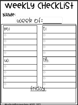 Check Lists- Stay Organized Weekly or Daily