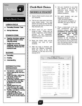 Check-Mark Choices – Character Traits Activity