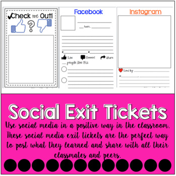 Check Me Out - Social Media Activities and Exit Tickets