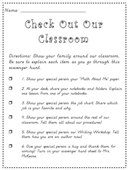 Check Out Our Classroom Open House Hunt - Editable