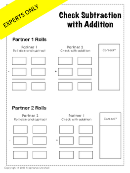 Check Subtraction with Addition Center