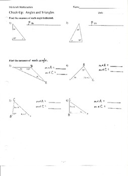 Check-Up:  Angles and Triangles