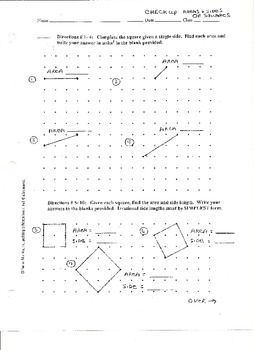 Check-Up:  Areas and Sides of Squares