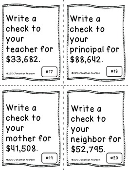 Check Writing - A Place Value Number Writing Activity - 24 Task Cards