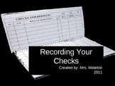 Check Writing- Keeping a registery of your checks!