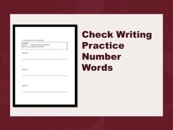 Check Writing Practice- Number words