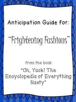 """Check Yes or No Anticipation Guide for """"Frightening Fashions"""" from """"Oh Yuck!"""""""