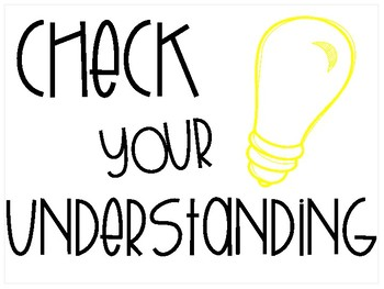Check Your Understanding Posters