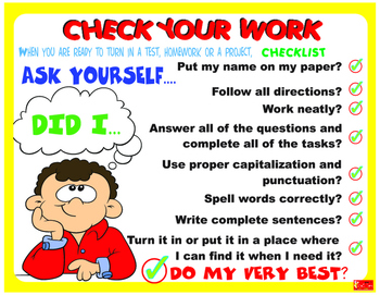 Classroom Decoration Check Your Work Poster