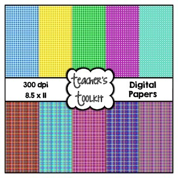 Check and Plaid Digital Background Papers {8.5 x 11} Clip Art CU OK