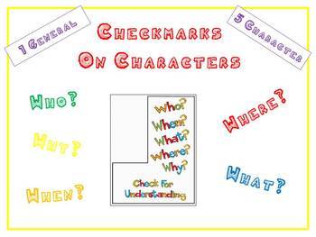 Check for Understanding - 6 Bookmarks on CHARACTERS Buddy Reading Centers