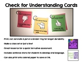 Check for Understanding Cards