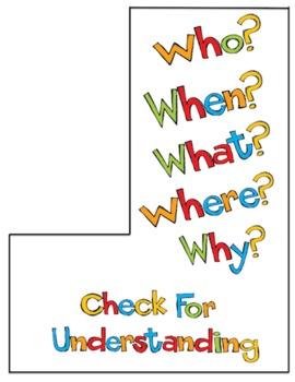 Check for Understanding - Checkmark Bookmark Buddy Reading Center