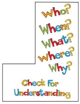 Check for Understanding - Checkmark Bookmark Buddy Reading Center