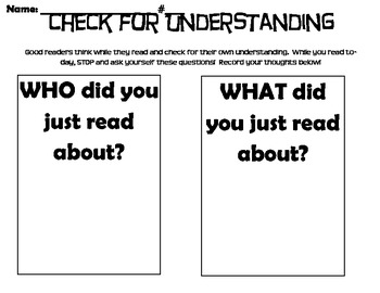 Check for Understanding-Daily 5/Cafe Comprehension Strategies