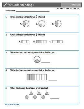 Check for Understanding Fraction Assessments