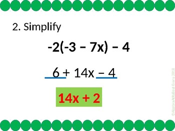 Check for Understanding - Simplify Algebraic Expressions w/ Distribution -