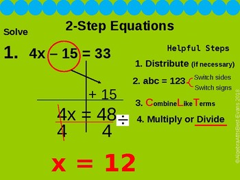 Check for Understanding - Solving 2 step Equations