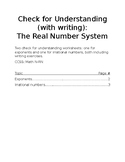 Check for Understanding - The Real Number System