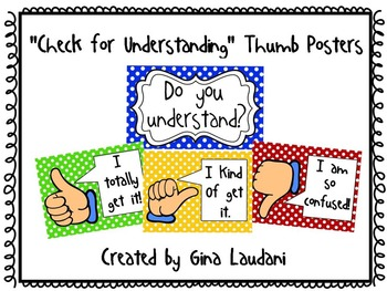 """""""Check for Understanding"""" Thumb Posters"""