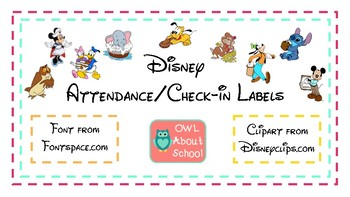 Check-in/Attendance Board Labels Disney Themed