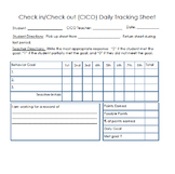 Check in/Check Out Behavior Sheet