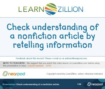Check understanding of a nonfiction article