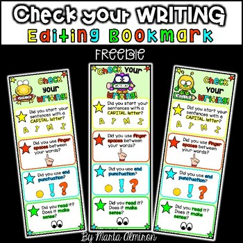 Check your WRITING Bookmark {My Monthly FREEBIE}