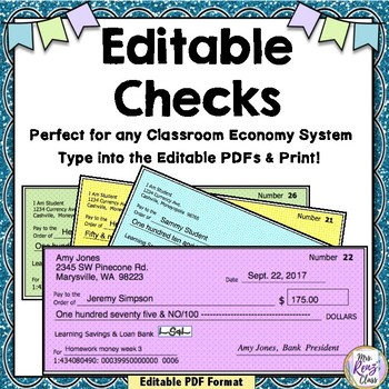 Checks for Classroom Banking or Classroom Economy Programs (Editable)