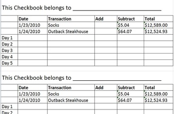 checkbook practice teaching resources teachers pay teachers