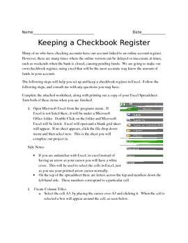 Checkbook Register Guided Excel Lesson