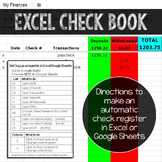 How to make a Google sheet or Excel checkbook register