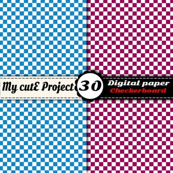 Checkerboard 1 - DIGITAL PAPER - Instant Download - Scrapbooking - A4 & 12x12""