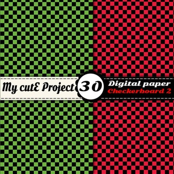 "Checkerboard 2 - DIGITAL PAPER - Instant Download - Scrapbooking - A4 & 12x12"""