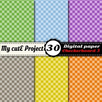 "Checkerboard 3 - DIGITAL PAPER - Instant Download - Scrapbooking - A4 & 12x12"""