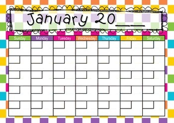 Checkerboard Calendar. Teaching Time: Days, Weeks, Months, Years