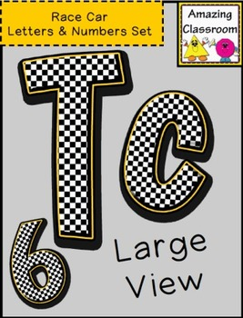 Black and White Checkered Alphabet Letters and Numbers Set