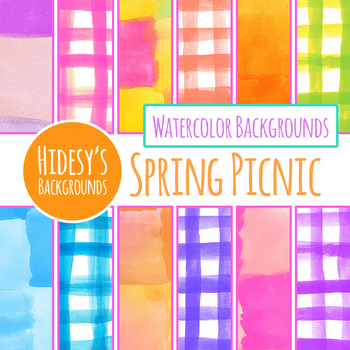 Checkered / Check Handpainted Watercolor Digital Papers / Backgrounds