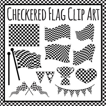 Checkered Flags - Winner! - Clip Art Set for Commercial Use