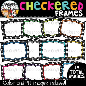Checkered Frames Clipart  {TpT Sellers Clipart}