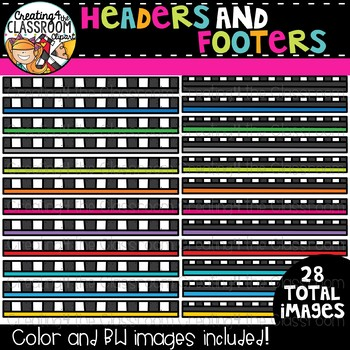 Checkered Headers and Footers Clipart  {TpT Sellers Clipart}