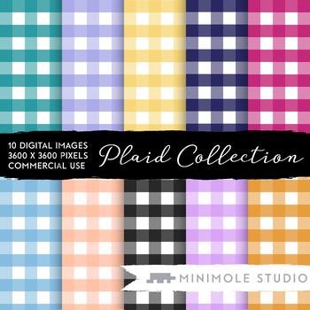 Checkered Pattern Digital Paper Tartan Gingham Plaid Picnic Tablecloth